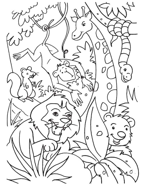 coloring pages jungle scenes - photo#27
