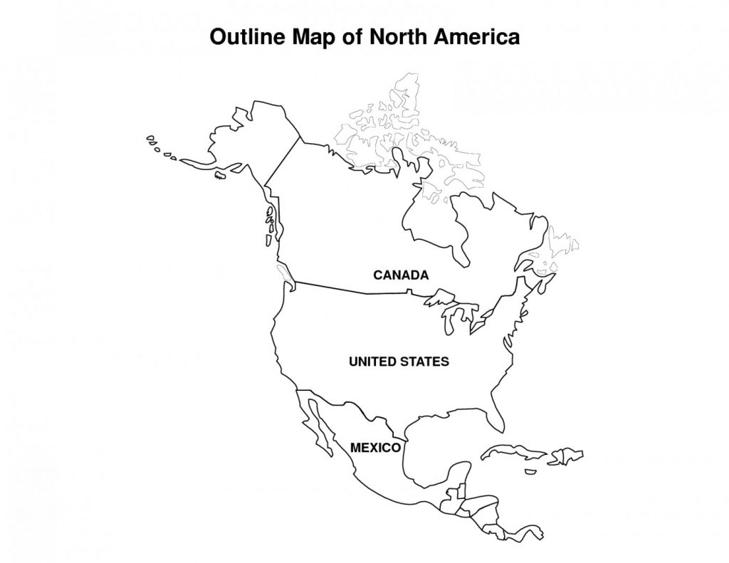 North America Coloring Page with US
