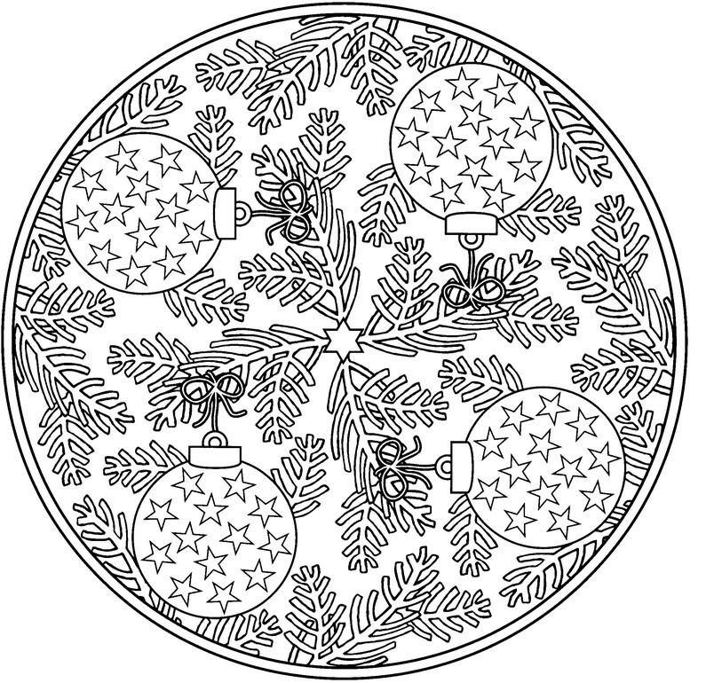 Ornaments Winter Coloring Pages for Adults