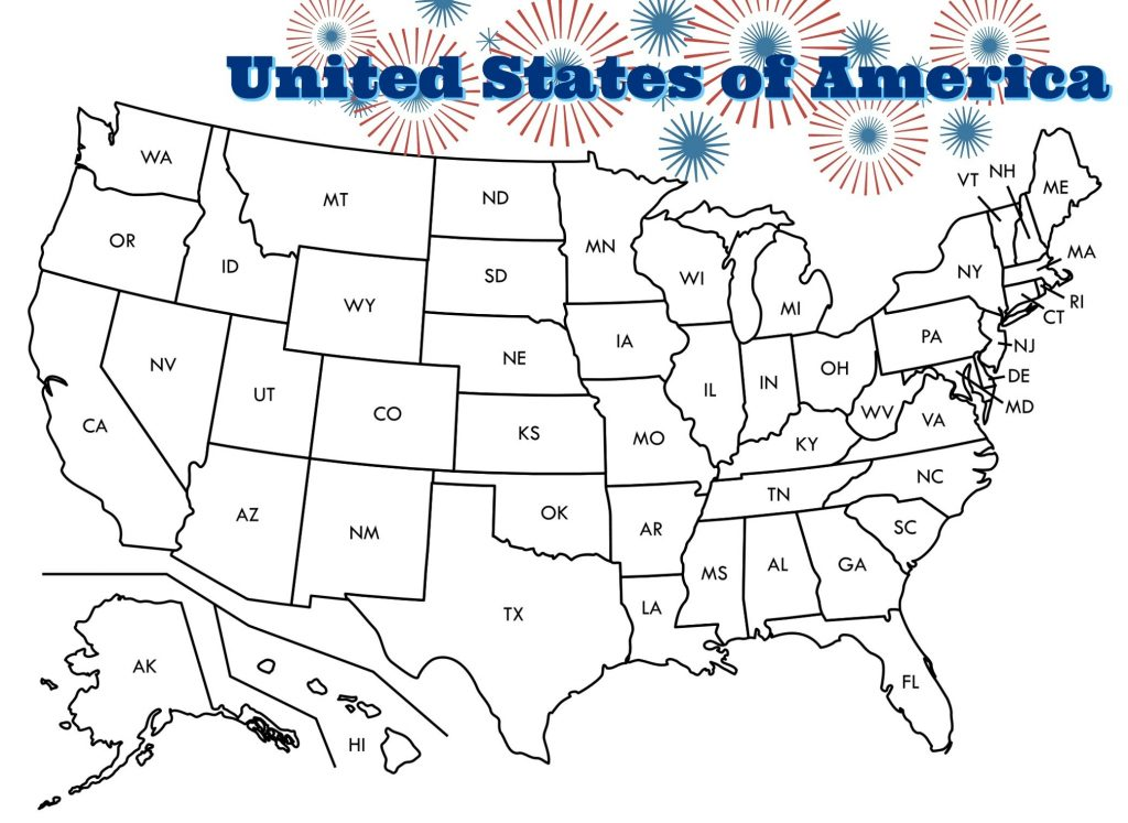 Patriotic US Map Coloring Page