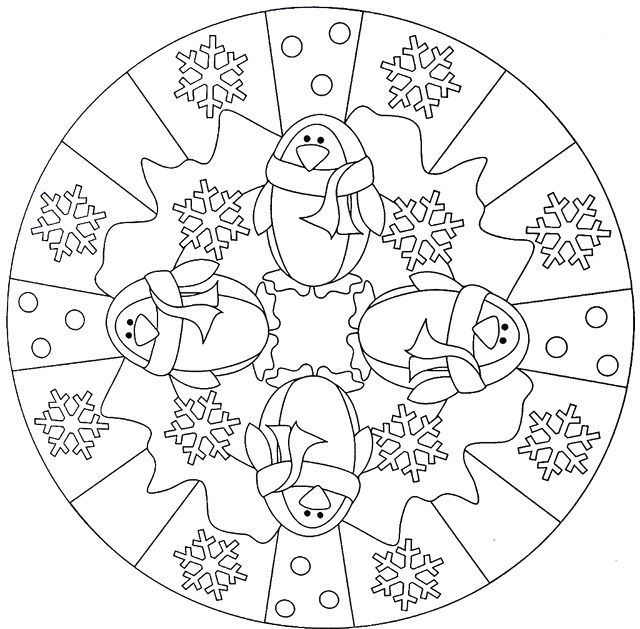 Penguin Mandala Winter Coloring Pages for Adults