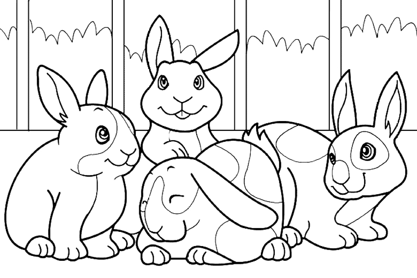 Pet Bunnies Coloring Page Printable