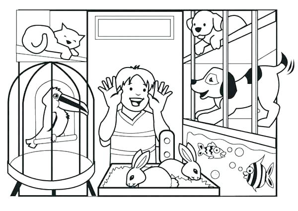 Pet Store Coloring Page