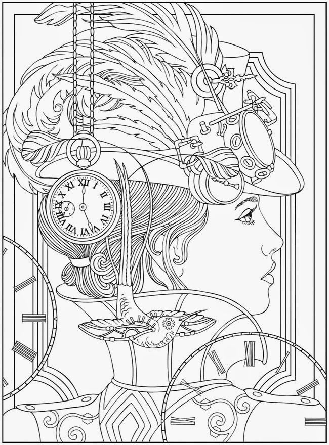 Printable Complex Coloring Page Woman