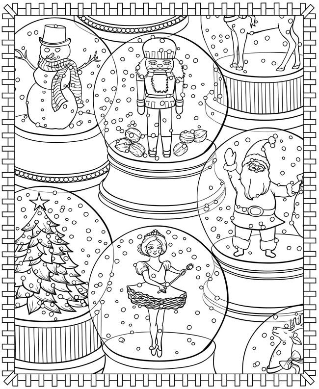 Snowglobes - Winter Coloring Pages for Adults