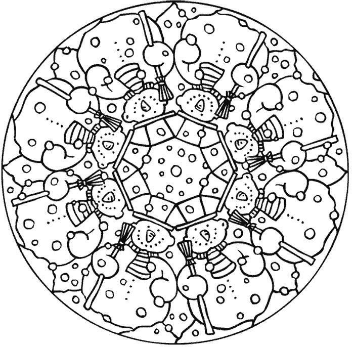 Snowman Mandala Winter Coloring Pages for Adults