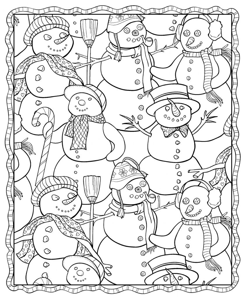 Snowman Winter Coloring Pages for Adults