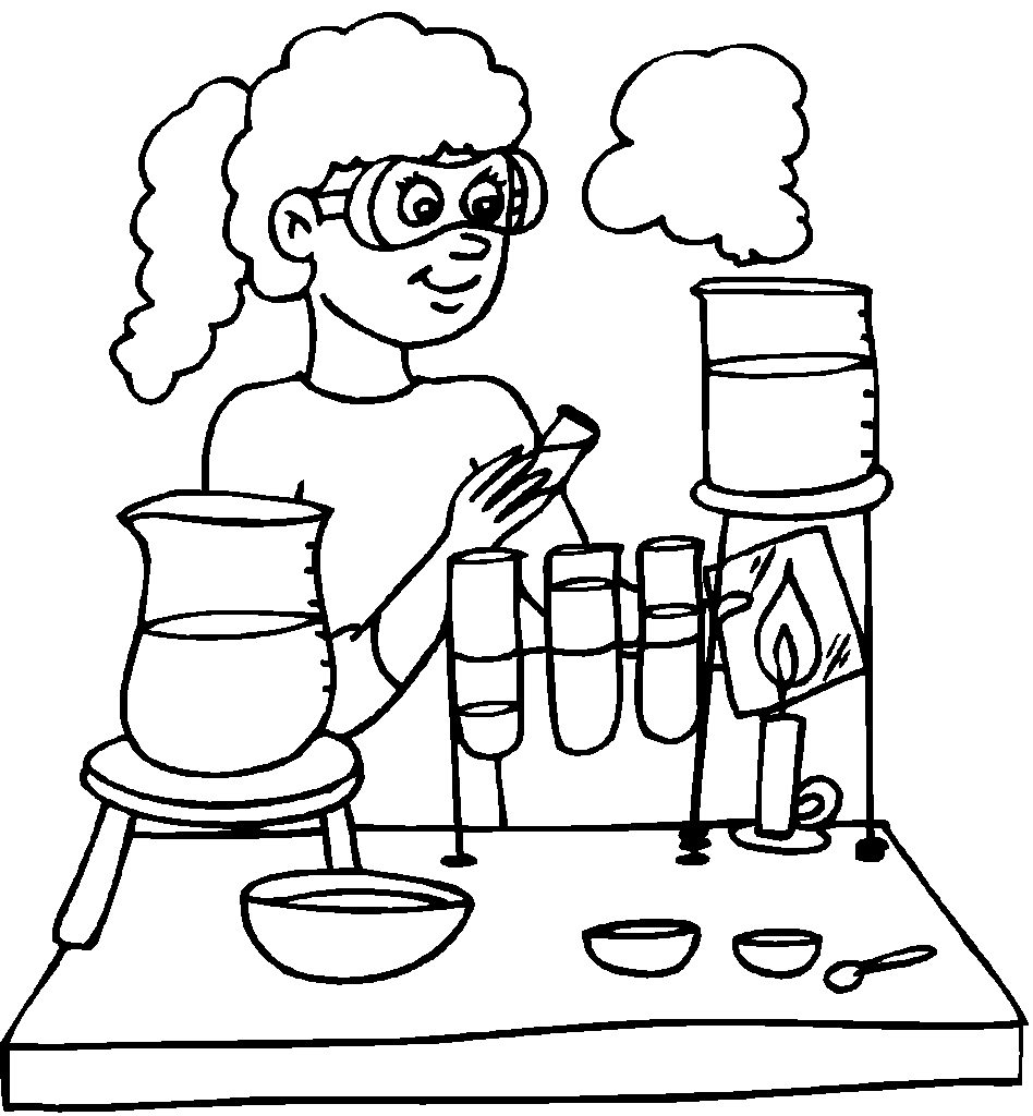 Studying Science Coloring Pages