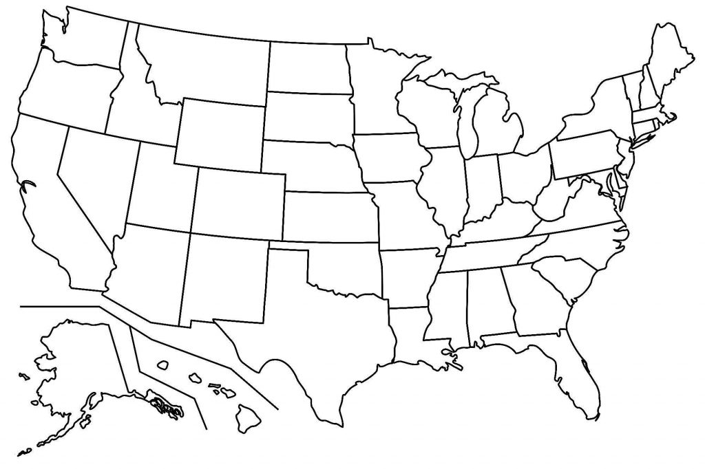 US Map Coloring Page with Alaska and Hawaii