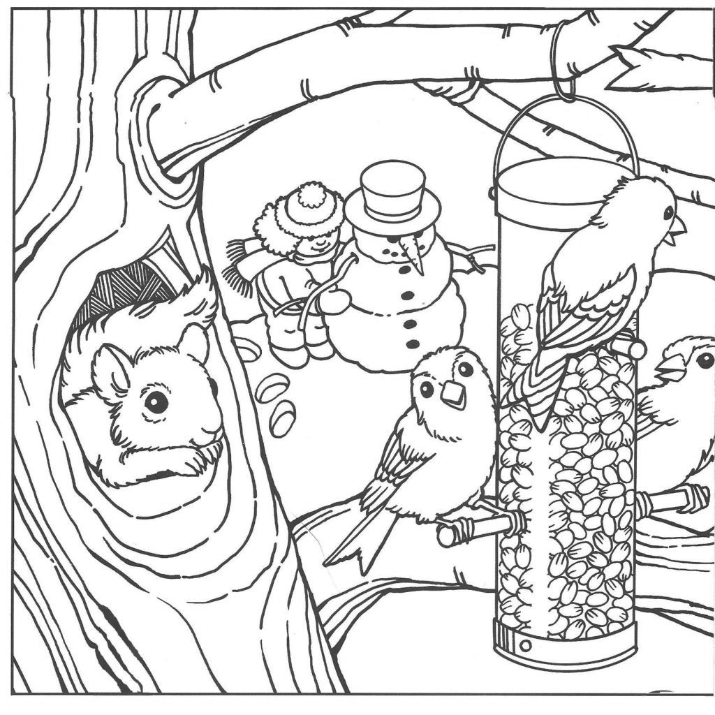 Winter Scene Animals Coloring page for Adults