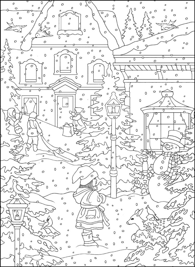 Winter Scene Coloring Page for Adults