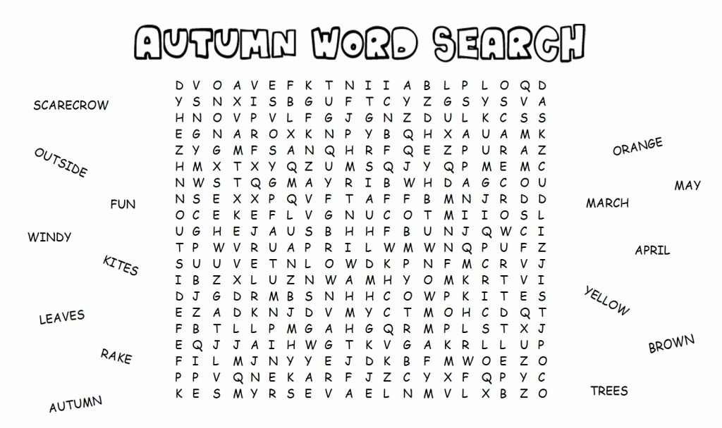 Autumn Fall Word Search Printable
