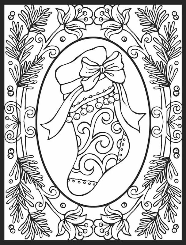 Beautiful Christmas Stocking Coloring Page