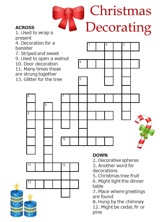 Christmas Crossword Puzzles For Kids
