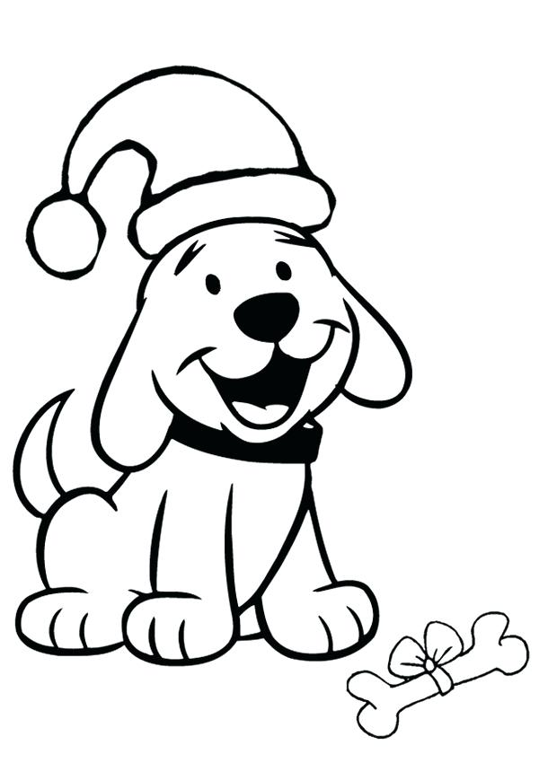 Christmas Puppy Coloring Pages for Preschoolers