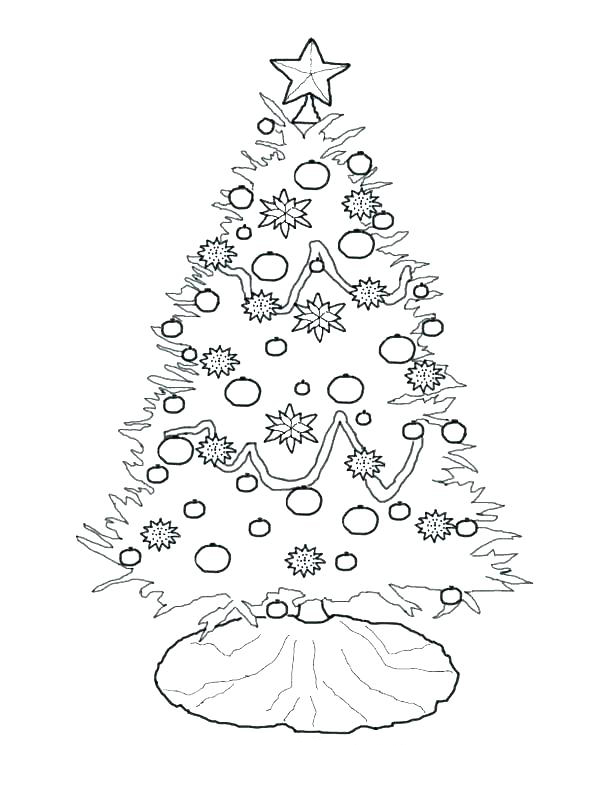 Christmas Tree Coloring Page for Preschool