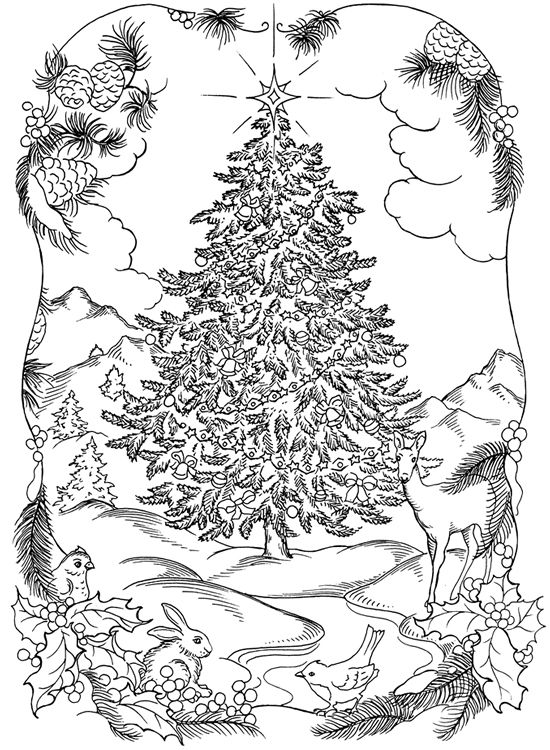 Christmas Tree Scene Coloring Page