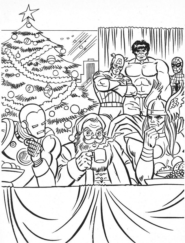 Comic Book Christmas Coloring Page