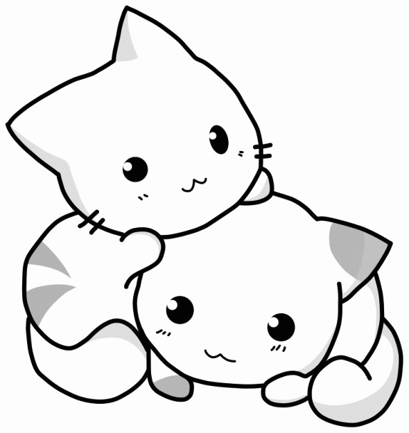 Cute Kittens Coloring Page