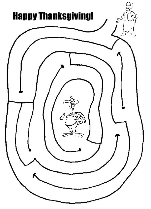 Easy Thanksgiving Child Mazes