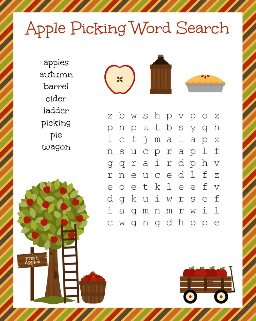 Fall Apple Picking Word Search