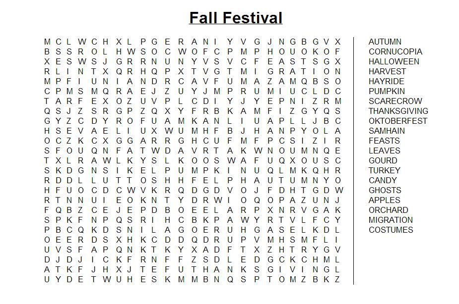 Fall Festival Word Search