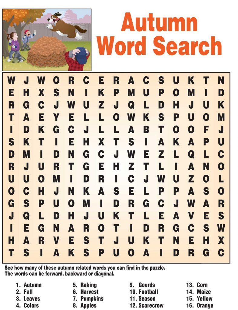 Free Autumn Word Search Puzzle