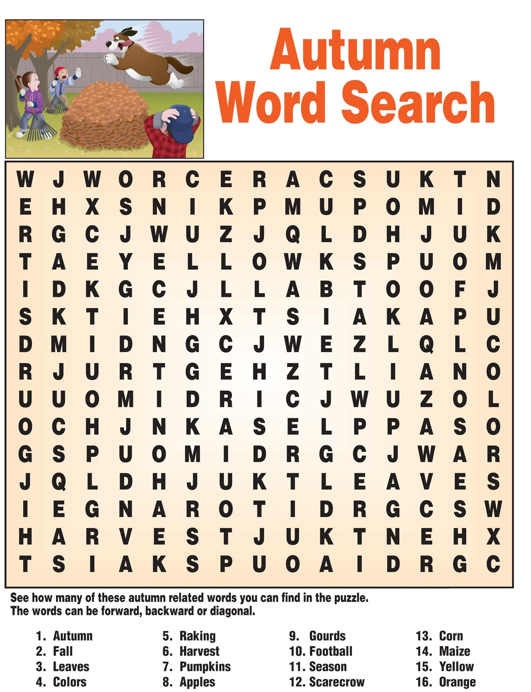 Fall Word Search - Best Coloring Pages For Kids