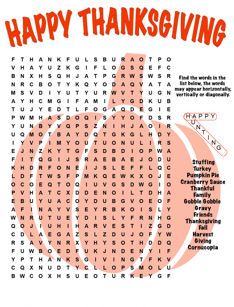 Happy Thanksgiving Word Search