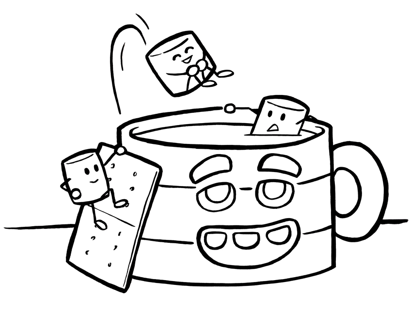 Hot Cocoa - December Coloring Pages