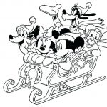 Mickey Mouse Christmas Sleigh Coloring Page