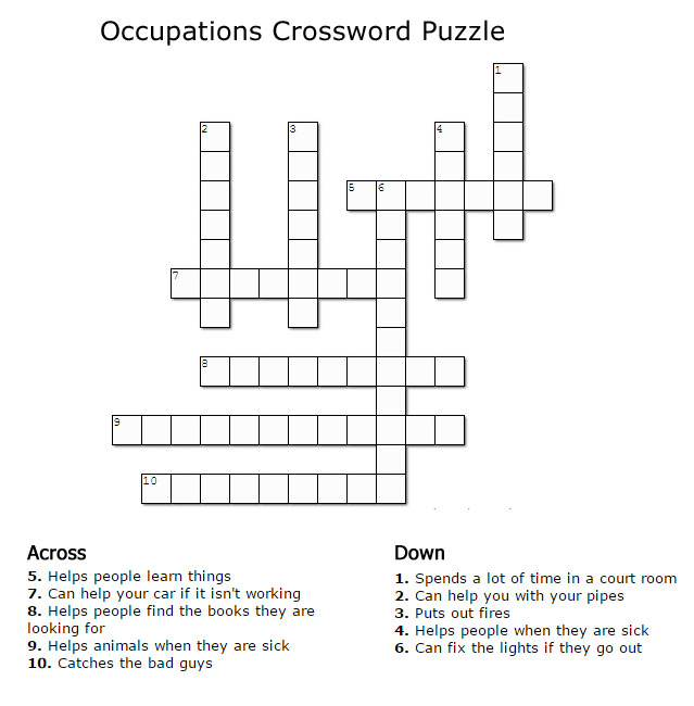Occupations Crossword Puzzles For Kids