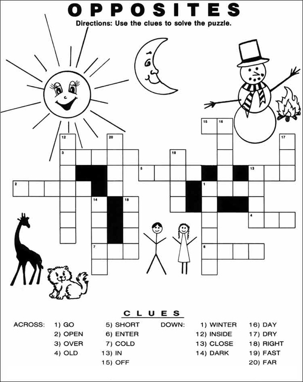 Crossword Puzzles For Kids Best Coloring Pages For Kids