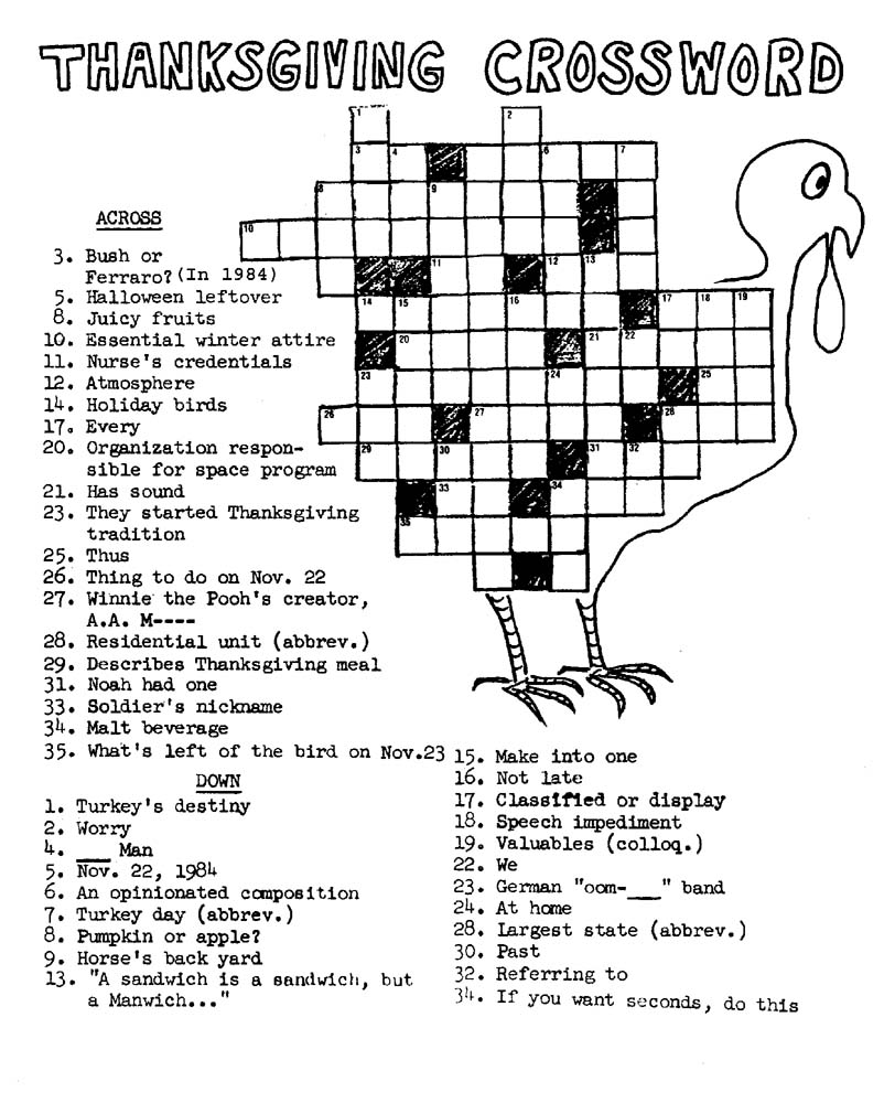 Printable Thanksgiving Crossword Puzzle