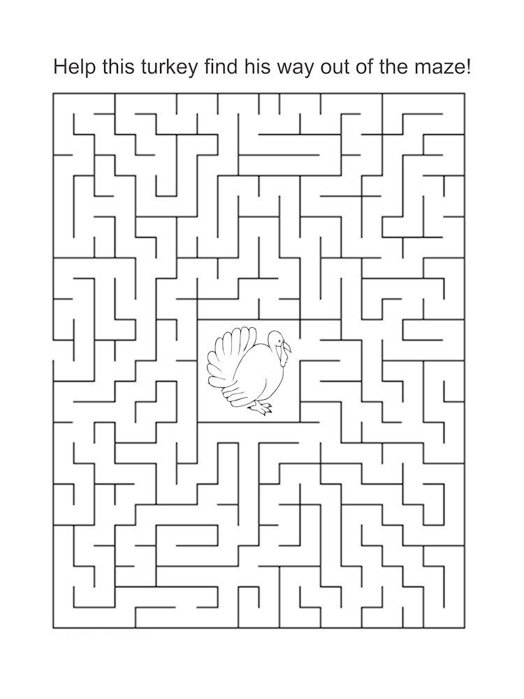 Thanksgiving Mazes Best Coloring Pages For Kids
