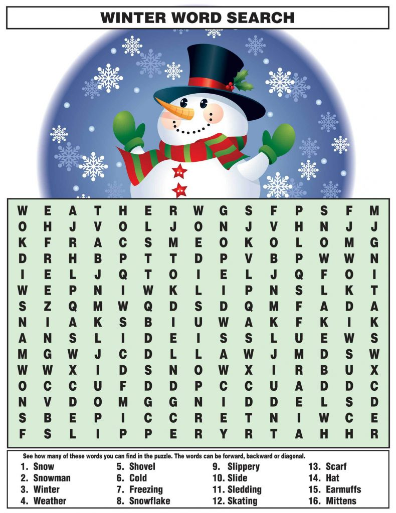 Printable Winter Word Search
