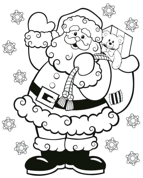 Santa Christmas Coloring Page for Preschool