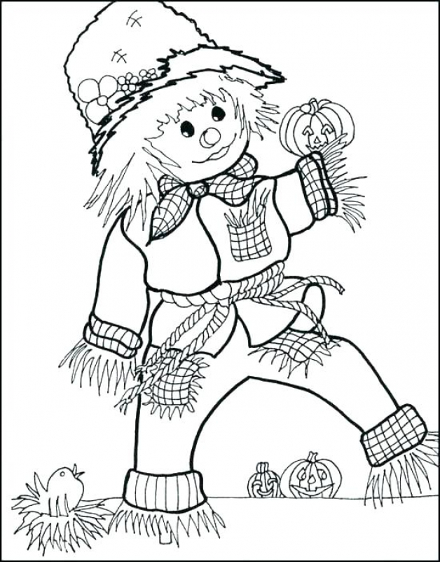 Scarecrow October Coloring Pages