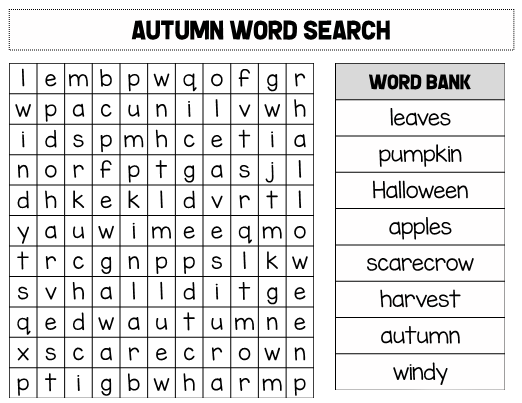 photo relating to Fall Word Searches Printable called Drop Term Seem - Ideal Coloring Web pages For Children
