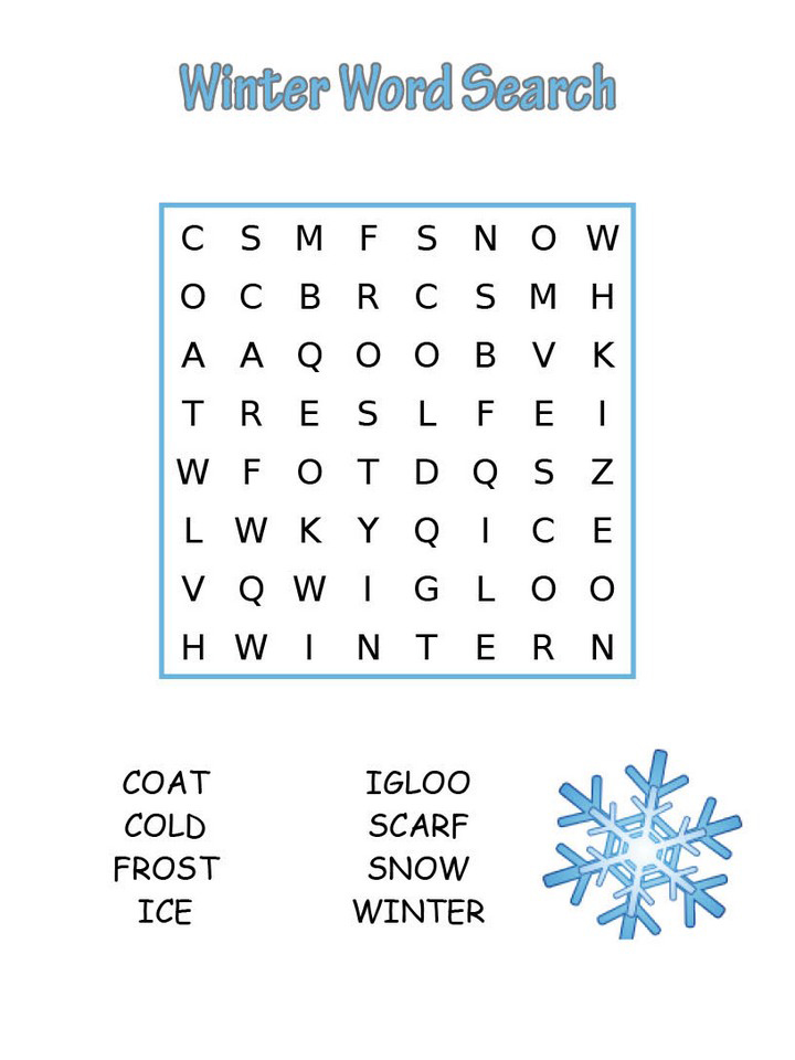 Impeccable image throughout winter word search printable free