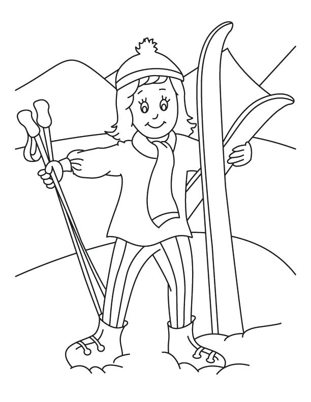 Skiing - December Coloring Pages