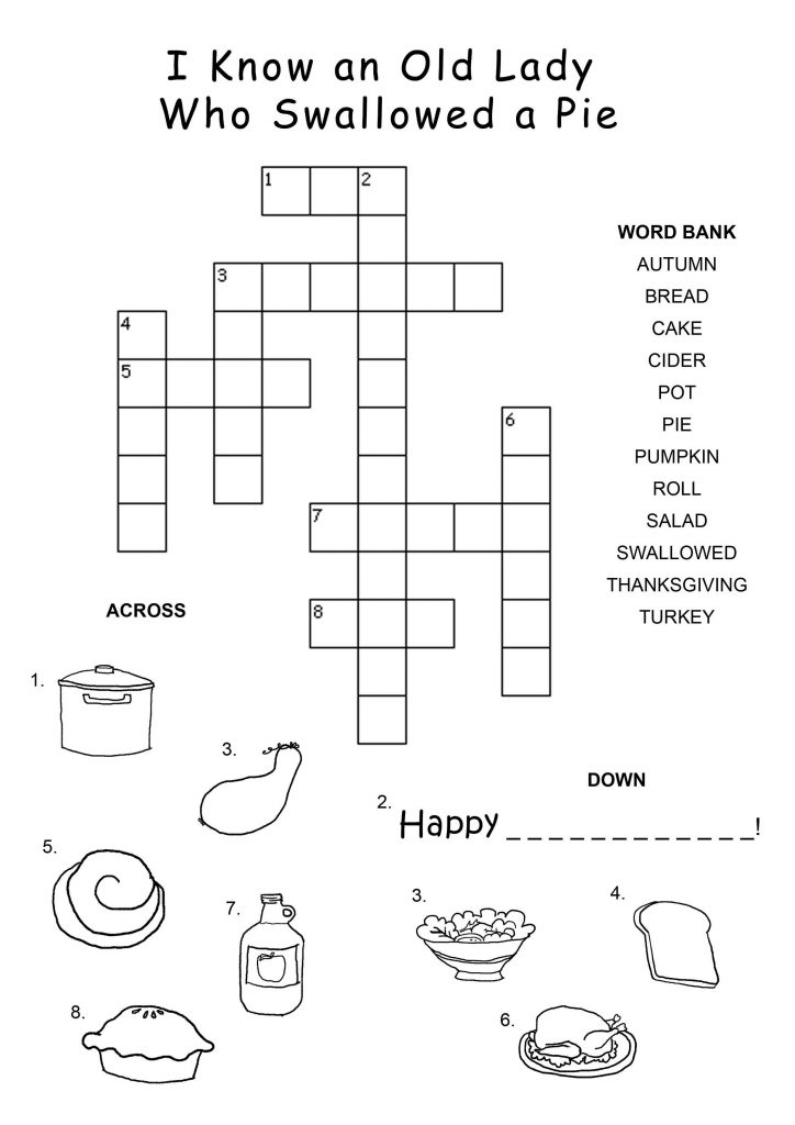 Swallowed a Pie Thanksgiving Crossword