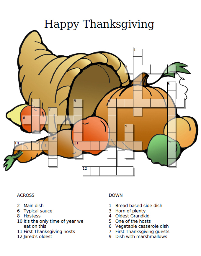 Thanksgiving Crossword Puzzle Game