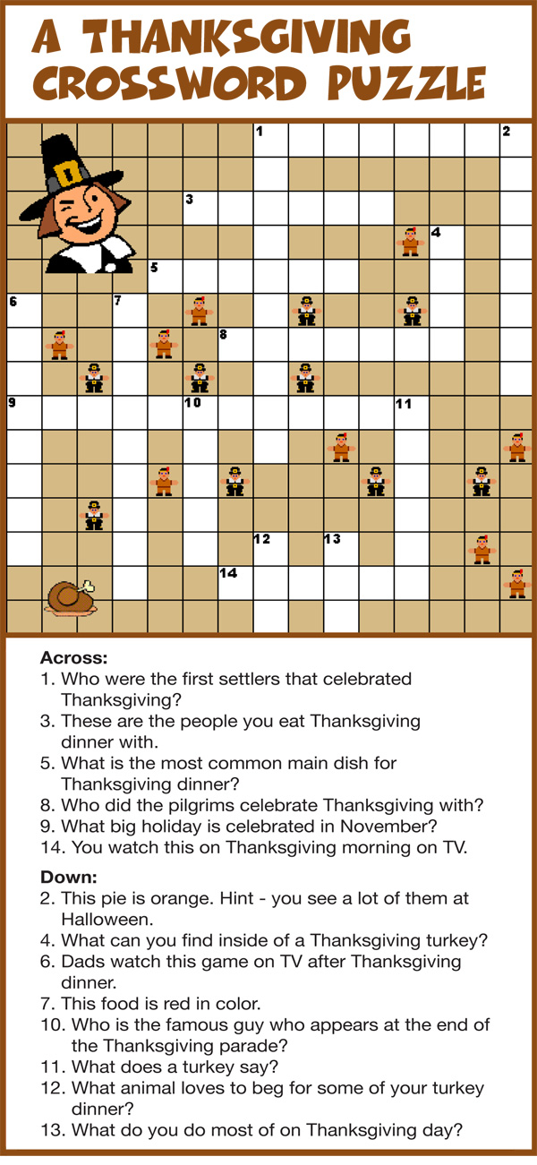 It's just a graphic of Sassy Thanksgiving Crossword Puzzles Printable