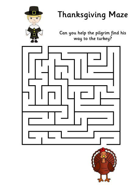 Thanksgiving Mazes for Preschoolers