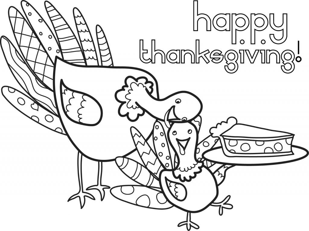 Thanksgiving Turkey and Pie - November Coloring Page
