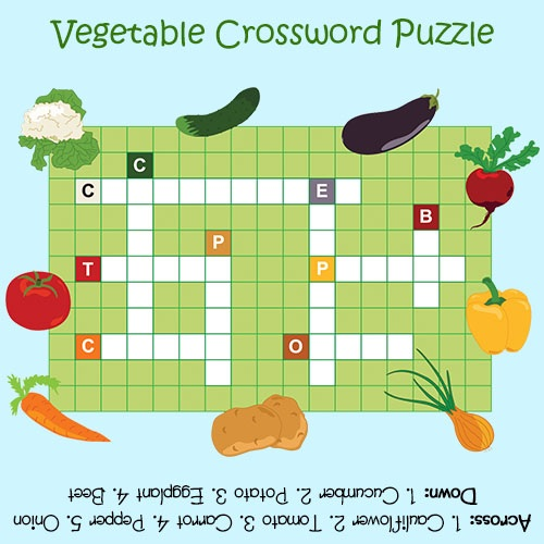 Vegetable Crossword Puzzles For Kids