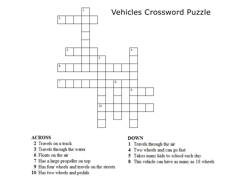 Vehicles Crossword Puzzles For Kids