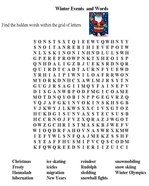 Winter Events Word Search
