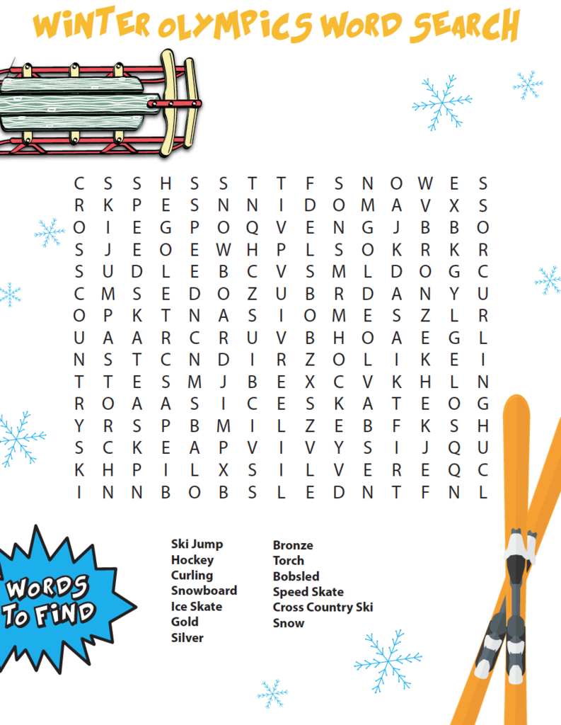 Winter Olympics Word Search